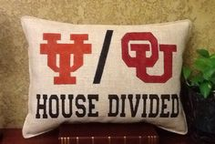 HOUSE DIVIDED Burlap Pillow by BurlapPillowsEtc on Etsy, $45.00