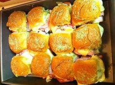 Ranch Hawaiian Sweet Rolls: 12 Hawaiian sweet rolls, 1 tsp. ranch seasoning mix, 2 tsp. melted butter, 1 lb. deli ham, 6 slices white American cheese Set oven to 350, slice rolls, put bottoms in a pan, put ham and cheese on, place tops of buns on top, brush melted butter mixed with ranch seasoning on top of sandwiches and place in oven for about 10 min. Until cheese is melted and perfectly toasted on top!! Amazing!!! My family eats them up!! Good for parties too!!