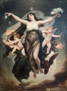 The Night Surrounded by the Genii of Study and Love - Pedro Americo 1883