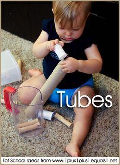 Tot School Ideas ~ Tubes 12-18 Months #totschool #babyplay