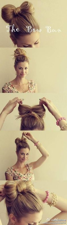 1. Flip your hair threw the pony tail twice then stop half way threw the third time. 2. Separate the bun you just made. 3. Then there should be extra hair sticking out. Take that hair and wrap it around the middle of what you separated and bobby pin it.