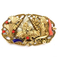 Vintage Art Deco Czech Egyptian Revival Glass Cabochon Geisha Pin Brooch | Clarice Jewellery | Vintage Costume Jewellery