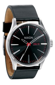 Nixon 'the Sentry' Leather Watch