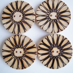 Pyrography Daisy Buttons, by Pyrography Jewellery