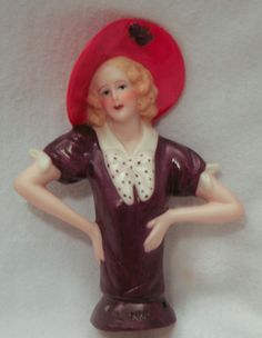 Lynne Half Doll Heirloom Half Doll Mold Flapper Style Painted Red Hat Lady | eBay