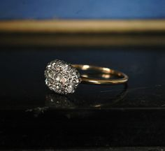 1900s Oval Cluster Ring, European Cut Diamonds, Platinum, 14K, (sold $2100)