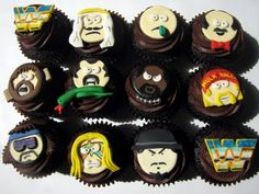 Espresso cupcakes filled with whipped cream frosted with Mexican chocolate buttercream and topped with handcrafted fondant Old School WWF wrestler decorations.