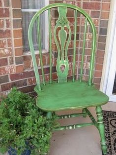 green painted chair