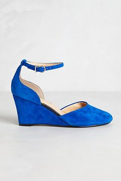 blue suede wedges