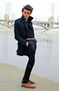 Lookbook User Grant T.   Alden Tan Suede Ankle Boot, H&M Black Waist Length Trench, H&M Black Cotton V Neck, Vintage Brown Leather Belt With Gold Buckle, H&M Black Slim Trouser   #WorkItWednesday #Alden Shoes are available on www.TheShoeMart.com