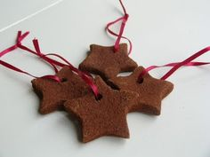 Cinnamon Applesauce Ornaments: 1 part applesauce; 1 part cinnamon. For a snowy effect, add glitter right into the dough.