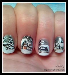 You need a steady hand and a lot of patience for this - but doesn't it look fab! christmas nails, winter wonderland, nail arts, christmas nail art, winter nail art, winter nails, winter scenes, nail idea, art nails
