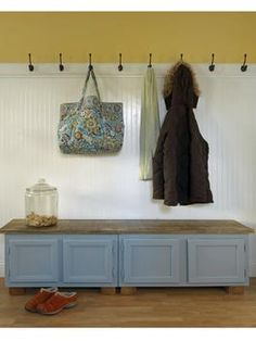 How to Make a Mudroom Bench Using Old Kitchen Cabinets | DIYNetwork.com