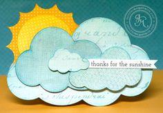 Cloud-shaped card by Jennifer McGuire clouds, allema kaartj, sun card, punch, card art, design art, cloud card, jennif mcguir, cards