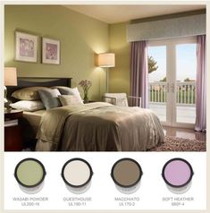 """lavender and green bedroom -- accent colors """"Guesthouse"""" or Macchiato (by Behr, apparently) have possibilities."""