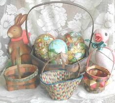 four wonderful colors on these vintage Easter Candy baskets..