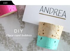 Color dipped cork placecard holders