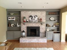 #diy on how to white wash your brick hearth and paint a brass fireplace