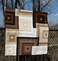 modern quilt ~ It looks like picture frames. I almost don't like it... but I do.