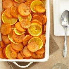 THANKSGIVING  Dig in to these updated takes on classic Thanksgiving 33 side dishes from Better Homes and Gardens. [PICTURED: Sliced Orange Sweet Potatoes.]
