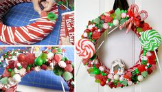Learn how to make a yummy Gingerbread House Christmas Wreath. The hardest part is trying not to eat the candy before you glue it onto the wreath! #christmascrafts #christmaswreaths