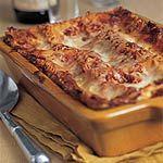 Tomato basil lasagna with prosciutto.