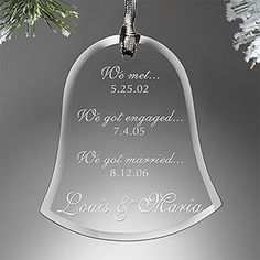 "I love this ""Special Dates"" engraved Bell Ornament! It's a great wedding gift idea or Christmas gift idea for a newly engaged or married couple! It's only $14.95 at PMall - you have to check out their site, they have TONS of great wedding gift ideas!"
