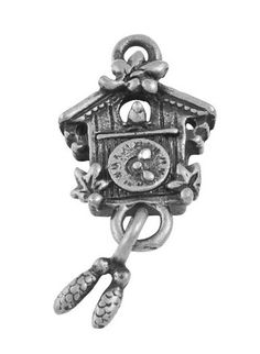 4 Silver Tone Metal Pewter moveable CUCKOO CLOCK Charm Pendants by SmartParts, $2.29  diy jewelry making, perfect for earrings, charm bracelets, necklaces  nostalgia