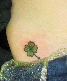 Small lower hip clover tattoo   <3