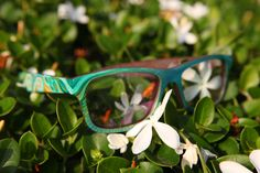 New eyewear Available Now - handpainted by artist Isa Gutierrez in oil paint, and finished for you and the eyewear's protection! Find it at Sire's Crown! #eyewear #woodglasses #sirescrown