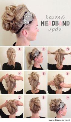 diy hairstyles, hair tutorials, headband, long hair, wedding hairs