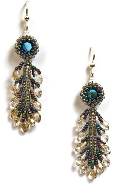 Crystal plume earrings