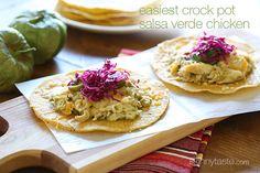 Easiest Crock Pot Salsa Verde Chicken - 3 Points+