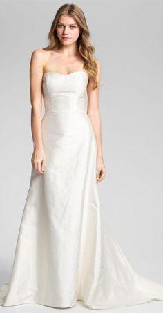 Classic silk A-line wedding dress, 'Elizabeth' by Caroline DeVillo