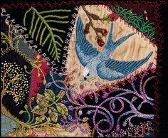 bird, craft, crazy quilting, robyn melia, quilt blocks, quilt crazi, embroidery, embroideri, crazi quilt