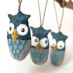 Paper mache owls.