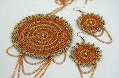 Pendant and earrings set - Crochet jewelry - Dangle earrings - Brown and golden - Fashion jewelry - Gift idea Colgante y pendientes de ganchillo #lindapaula