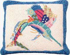 Patchwork Sailfish Hook Pillow