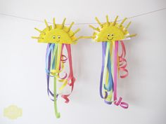 paper plate and clothespin rainbows.