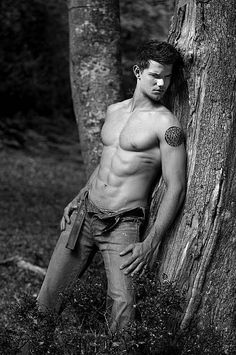 Taylor Lautner...because it takes a pack like those to make me break the no shirtless men on the man wall clause. TYVM.