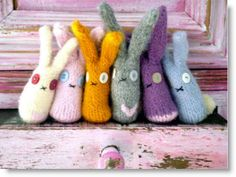 Felted knitted rabbit patterns  http://felting.craftgossip.com/2012/03/23/felted-knitted-rabbit-patterns/