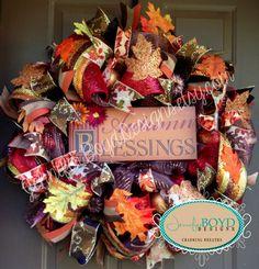 Gorgeous, Autumn Blessings Deco Mesh Wreath by Jennifer Boyd Designs.  www.etsy.com/shop/jenniferboyddesigns www.facebook.com/jenniferboyddesigns