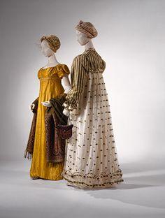 Evening dress, 1812–14 French Silk Rogers Fund, 1937 (37.116a–c)  Dress, ca. 1820 British Silk Purchase, Irene Lewisohn Bequest, 1985 (1985.222.2ab)