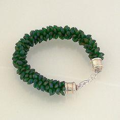 Green Magatama Bead Kumihimo Bracelet