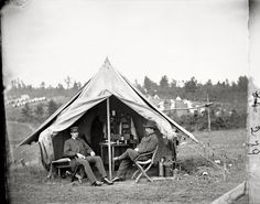 "September 1863. Culpeper, Virginia. ""Dr. Irwin of Excelsior Brigade in front of tent."" Charles K. Irwin of the 72nd New York Infantry"