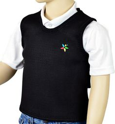 Our Sensory Hugs Deep Pressure Sensory Vest  is designed to calm children with autism, ADD, SID and ADHD while also focusing on durability and comfort. This poncho style vest is designed to be pulled snug to the clients' body, providing proprioceptive deep pressure sensory feedback, stability and skills.