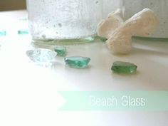 beach glass: paint, mod podge, sand and water. Directions here!