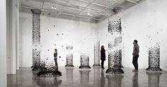 Architectural Columns Constructed from Suspended Charcoal by Seon Ghi Bahk