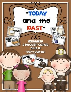 {Today and the Past} Sorting Cards Social Studies for Kindergarten and First Grade. $