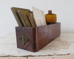 Antique Wooden Sewing Drawer Rustic Home Storage Box